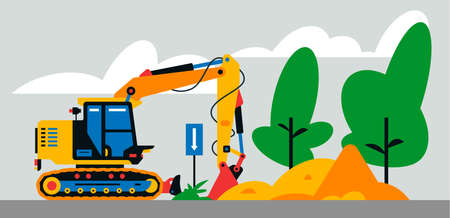 Construction machinery works at the site. Construction machinery, excavator on the background of a landscape of trees, sand. Vector illustration on background Иллюстрация