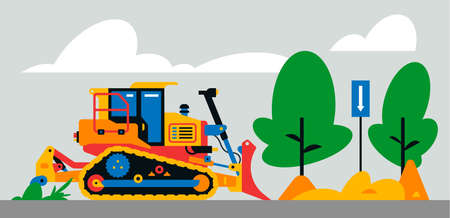 Construction machinery works at the site. Construction machinery, bulldozer on the background of a landscape of trees, sand, road sign. Vector illustration isolated on background Иллюстрация
