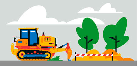 Construction machinery works at the site. Construction machinery, bulldozer on the background of a landscape of trees, sand. Vector illustration isolated on background