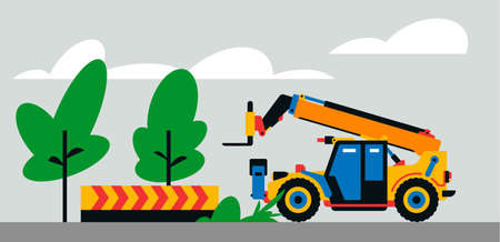 Construction machinery works at the site. Construction machinery, telehandler on the background of a landscape of trees, sand. Vector illustration isolated on background