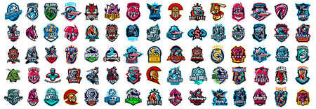 Huge set of colorful sports logos, emblems. Logos of knights, horses, soldier, dinosaur, soccer ball, cowboy, eagle, bear, wolf, superhero aircraft Vector illustration isolated on background