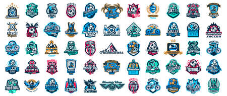 Huge set of colorful sports logos, emblems. Extreme and team sports logos. Mountain bike, surfing, soccer ball, skier, eagle, firefighter, skull. Vector illustration isolated on background.