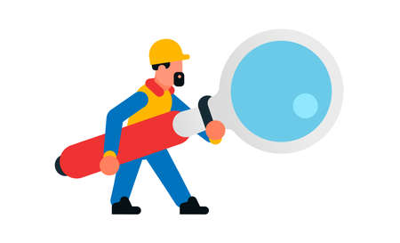 Worker holding a large magnifying glass. Builder with a magnifying glass. Search, research, study, increase, spy. Isolated vector illustration on white background.