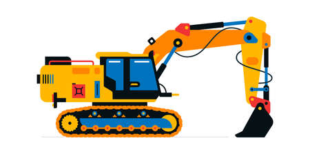 Construction machinery, excavator. Commercial vehicles for work on the construction site. Vector illustration isolated on white background