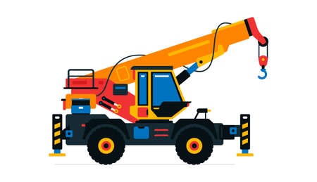 Construction machinery, truck crane. Commercial vehicles for work on the construction site. Vector illustration isolated on white background Иллюстрация