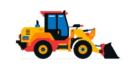 Construction machinery, front-end loader, tractor, excavator. Commercial vehicles for work on the construction site. Vector illustration isolated on white background