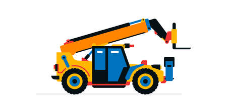 Construction machinery, telehandler. Commercial vehicles for work on the construction site. Vector illustration isolated on white background