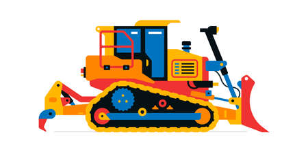 Construction machinery, bulldozer. Commercial vehicles for work on the construction site. Vector illustration isolated on white background