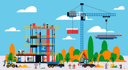 The building is under construction. The process of work of builders at a construction site. Transport, equipment, builders, crane, tools, building site, truck, excavator, foreman. Vector illustration.