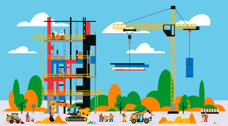 The building is under construction. The process of work of builders at a construction site. Transport, equipment, builders, crane, tools, building site, excavator, welder, foreman.Vector illustration