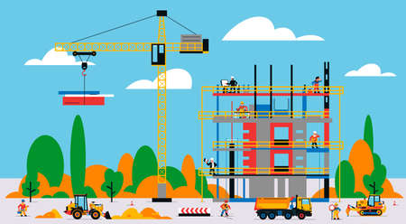 The building is under construction. The process of work of builders at a construction site. Transport, equipment, builders, crane, tools, building site, excavator, truck, foreman. Vector illustration.