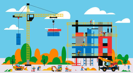 The building is under construction. The process of work of builders at a construction site. Transport, equipment, builders, crane, tools, building site, welder, bulldozer, foreman.Vector illustration