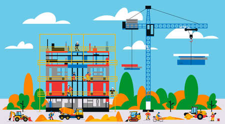 The building is under construction. The process of work of builders at a construction site. Transport, equipment, builders, crane, tools, building site, concrete mixer, cyclist. Vector illustration.