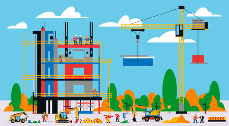 The building is under construction. The process of work of builders at a construction site. Transport, equipment, builders, crane, tools, building site, telehandler, foreman. Vector illustration. Иллюстрация