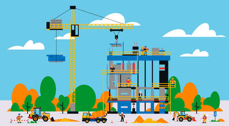 The building is under construction. The process of work of builders at a construction site. Transport, equipment, builders, crane, tools, building site, concrete mixer, foreman. Vector illustration. Иллюстрация