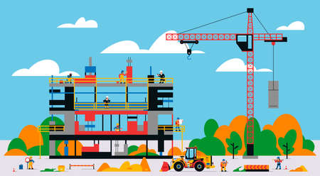 The building is under construction. The process of work of builders at a construction site. Transport, equipment, builders, crane, tools, building site, front loader, welder. Vector illustration.