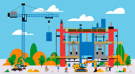 The building is under construction. The process of work of builders at a construction site. Transport, equipment, builders, crane, tools, building site, excavator, jackhammer. Vector illustration. Иллюстрация
