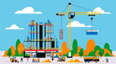 The building is under construction. The process of work of builders at a construction site. Transport, equipment, builders, crane, tools, building site, concrete mixer, excavator. Vector illustration.