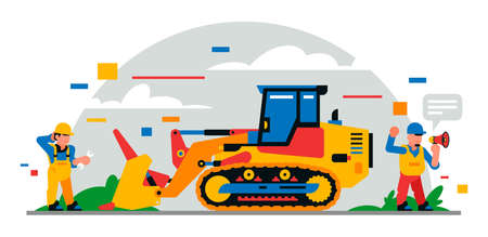 Construction equipment and workers at the site. Colorful background of geometric shapes and clouds. Builders, construction equipment, service personnel, bulldozer, foreman. Vector illustration.
