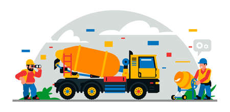 Construction equipment and workers at the site. Colorful background of geometric shapes and clouds. Builders, construction equipment, service personnel, concrete mixer, binoculars.Vector illustration Иллюстрация