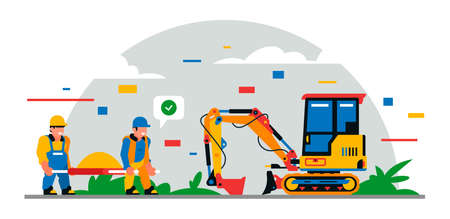 Construction equipment and workers at the site. Colorful background of geometric shapes and clouds. Builders, construction equipment, service personnel, mini excavator, sand. Vector illustration. Иллюстрация