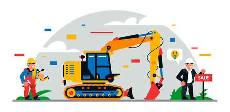 Construction equipment and workers at the site. Building for sale. Colorful background of geometric shapes and clouds. Builders, construction equipment, service personnel. Vector illustration. Иллюстрация