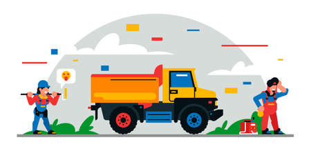 Construction equipment and workers at the site. Colorful background of geometric shapes and clouds. Builders, construction equipment, service personnel, truck, welder, painter. Vector illustration.