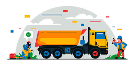 Construction equipment and workers at the site. Colorful background of geometric shapes and clouds. Builders, construction equipment, service personnel, truck, welder, power tool. Vector illustration. Иллюстрация