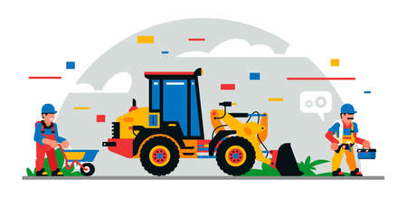 Construction equipment and workers at the site. Colorful background of geometric shapes and clouds. Builders, construction equipment, maintenance personnel, excavator, electrician.Vector illustration