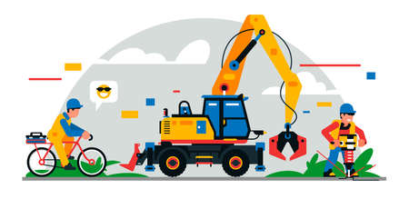 Construction equipment and workers at the site. Colorful background of geometric shapes and clouds. Builders, construction equipment, maintenance personnel, excavator, jackhammer. Vector illustration.