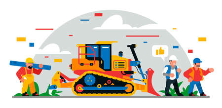 Construction equipment and workers at the site. Colorful background of geometric shapes and clouds. Builders, construction equipment, maintenance personnel, bulldozer, foreman. Vector illustration. Иллюстрация