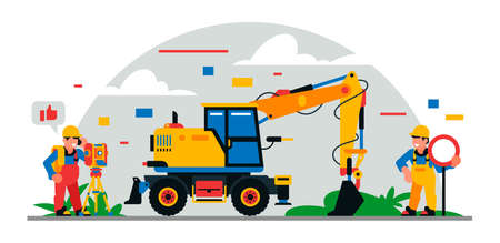 Construction equipment and workers at the site. Colorful background of geometric shapes and clouds. Builders, construction equipment, service personnel, excavator, surveyor. Vector illustration. Иллюстрация