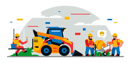 Construction equipment and workers at the site. Colorful background of geometric shapes and clouds. Builders, construction equipment, service personnel, concrete mixer, loader. Vector illustration.
