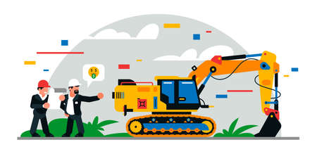 Construction equipment and workers at the site. Colorful background of geometric shapes and clouds. Builders, construction equipment, maintenance personnel, excavator, foreman. Vector illustration.