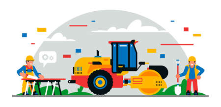 Construction equipment and workers at the site. Colorful background of geometric shapes and clouds. Builders, construction equipment, maintenance personnel, asphalt paver. Vector illustration