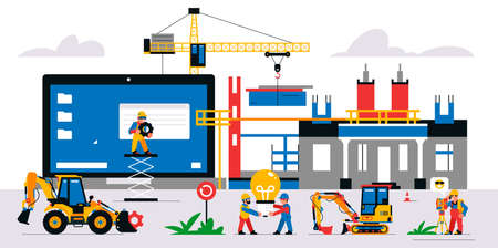 The website is under construction. Service page warning that will be coming soon. Construction site with machinery, builders, tools, unfinished house. Isolated vector illustration on background.