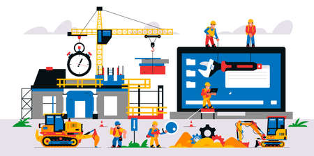 Website development at a construction site. Vector illustration with elements of construction equipment and service personnel. Website development and maintenance. Stopwatch, magnifier, wrench