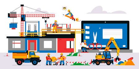 The website is under construction. Service page warning that will be coming soon. Construction site with machinery, builders, tools, unfinished house. Isolated vector illustration on background