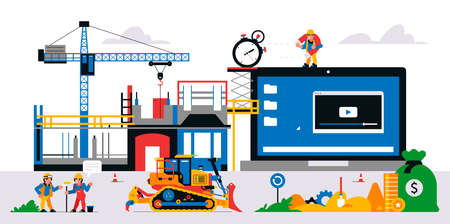 The website is under construction. Web page maintenance and bug fixes. Construction site, builders, money, magnet, stopwatch, time, equipment, gears. Vector illustration on background. Иллюстрация