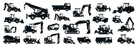 Big black-white set of construction equipment. Collection of commercial equipment for construction work. Excavator, bulldozer, tractor, loader, concrete mixer, asphalt paver. Vector illustration.