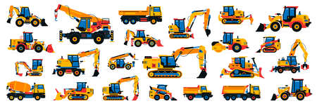 Large collection of construction equipment. Set of commercial vehicles for construction work. Excavator, tractor, bulldozer, asphalt paver, concrete mixer, loader, telehandler. Vector illustration.
