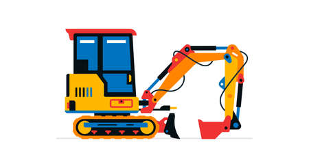 Construction machinery, mini excavator. Commercial vehicles for work on the construction site. Vector illustration isolated on white background Иллюстрация