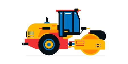 Construction machinery, asphalt paver. Commercial vehicles for work on the construction site, road work. Vector illustration isolated on white background