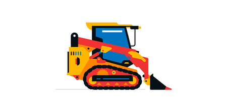Construction machinery, compact excavator, loader, mini tractor. Commercial vehicles for work on the construction site. Vector illustration isolated on white background Иллюстрация