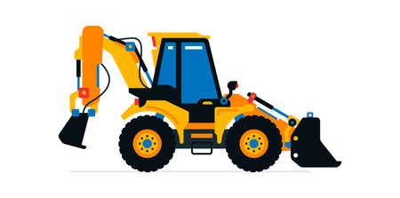 Construction machinery, tractor, excavator, loader. Commercial vehicles for work on the construction site. Vector illustration isolated on white background