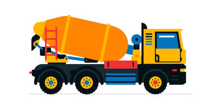 Construction machinery, concrete mixer. Commercial vehicles for work on the construction site. Vector illustration isolated on white background