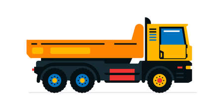 Construction machinery, truck. Commercial vehicles for work on the construction site. Vector illustration isolated on white background Иллюстрация
