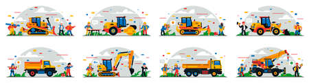 A set of construction equipment and workers on the site. Colorful background of geometric shapes and clouds. Construction site, builders, special equipment, service personnel. Vector illustration.