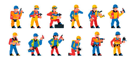 A set of workers with a power tool. Men and women working with professional power tools. Construction, renovation, people, smiles, happy. Vector illustration isolated on white background