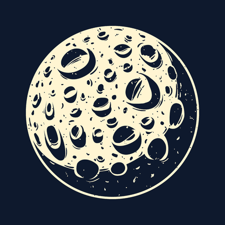 Vector illustration of a full moon with craters.